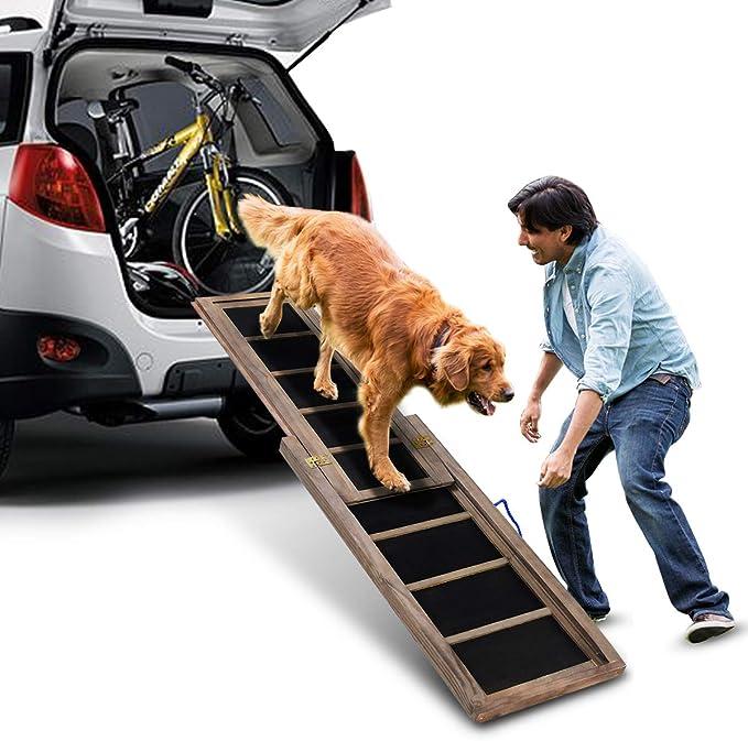 COSTWAY hunderampe einstieg Ayuda Perros Escalera Auto Rampa Extensible, Animales Escaleras 166 x 43 cm, hundeleiter Soporta hasta 100 kg: Amazon.es: Productos para mascotas