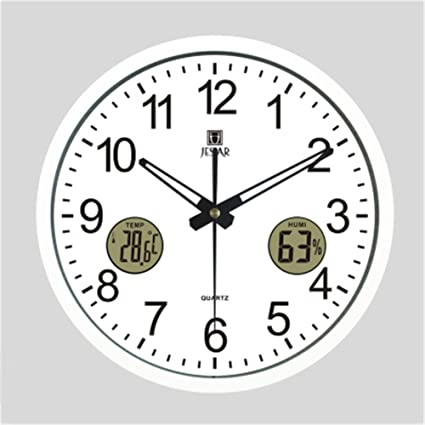 Amazon.com: Simple Creative Wall Clock With Thermometer Humidity Mute Round Living Room Office Quartz Clocks And Clocks , white - gold metal frame: Home & ...