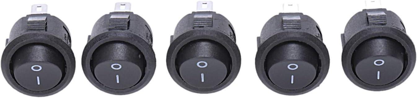 Negro LQNB 5 x Interruptor Basculante Redondo On//Off SPST CA 6A//125V 3A//250V