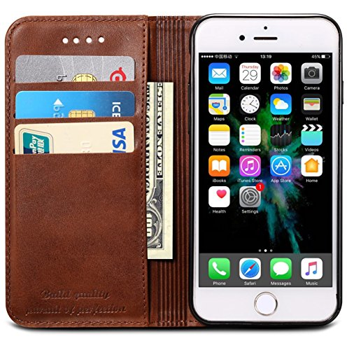 iPhone XR Case, SINIANL Premium Leather Wallet Case Business Credit Card Holder Folio Flip Cover for iPhone XR 6.1 inch 2018 - Brown