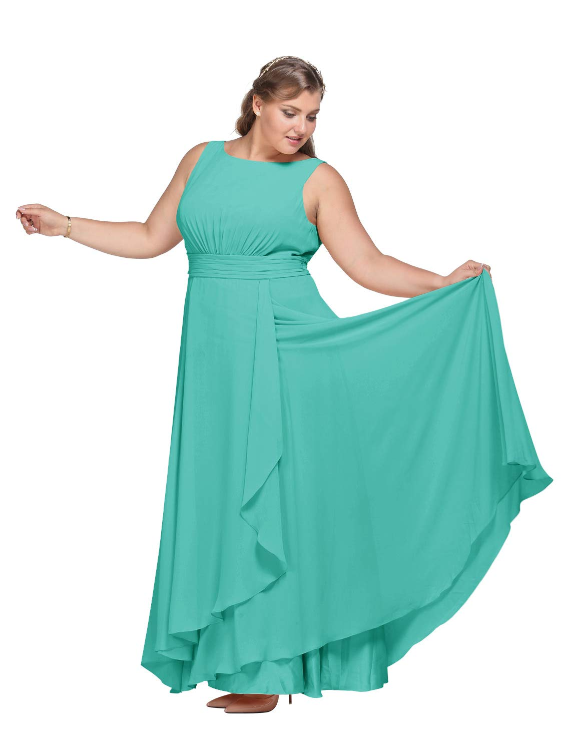 AW Bridal Chiffon Bridesmaid Dress Long Plus Size Formal Prom Party Evening  Maxi Dresses Sleeveless, Tiffany, US20
