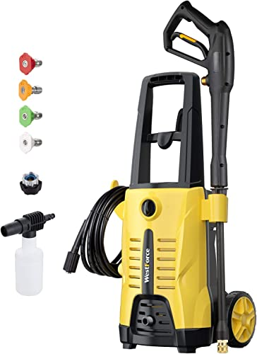 WestForce Electric Pressure Washer 2600 PSI 1.65 GPM Power Washer, 1600W High Power Washer, 20ft High-Pressure Hose, Pressure Cleaner Car Washer with 4 Nozzles Foam Lance for Vehicle, Home, Garden