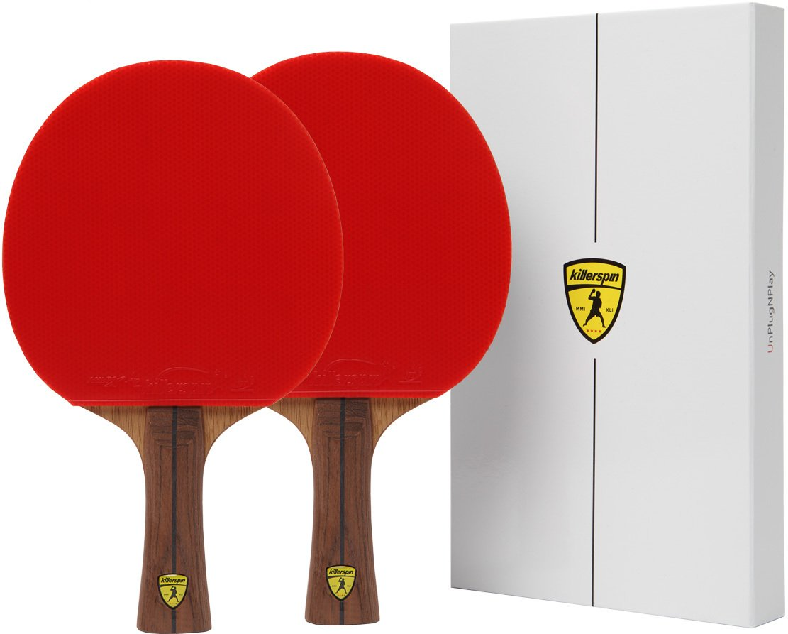 Killerspin JET800 SPEED N1 Table Tennis Paddles - Double Pack of Paddles with Stylish Wooden Side tape and High Tension Nitrix 4Z Rubber Packed in Designed Memory Books