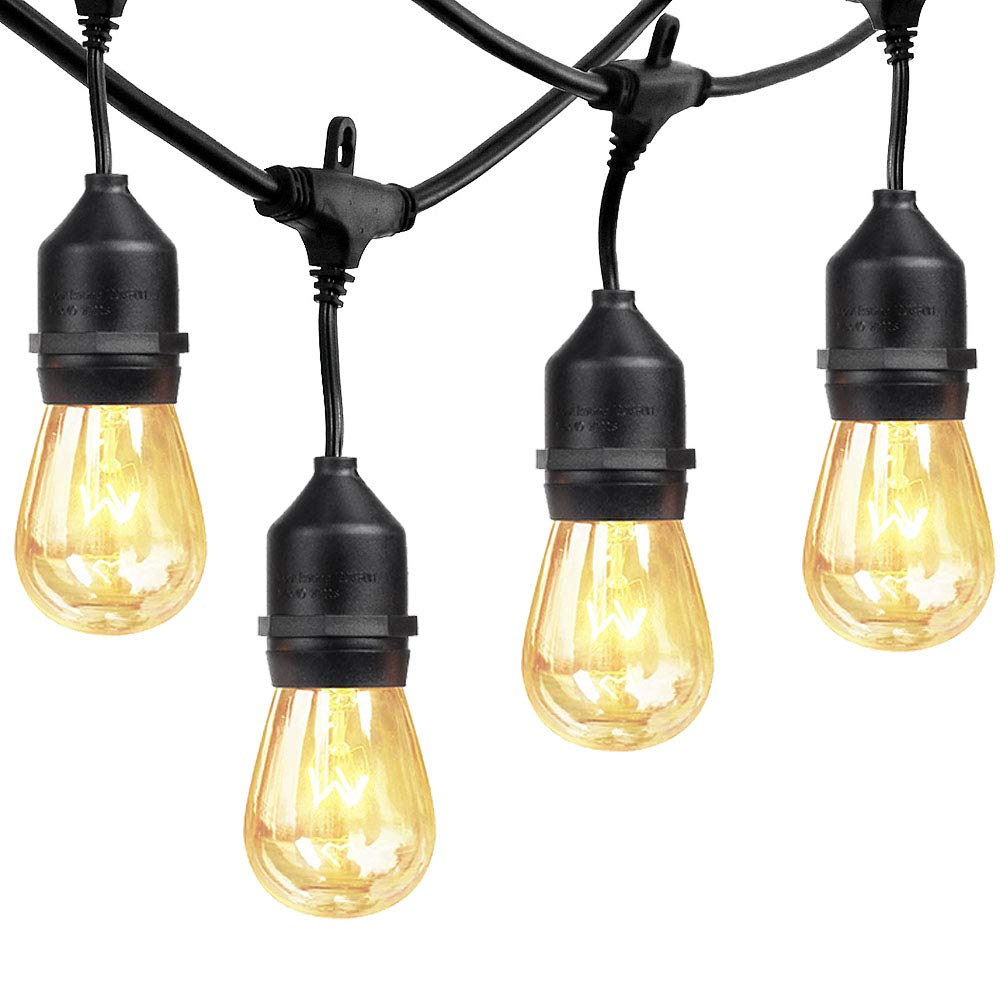 xtf2015 Outdoor Weatherproof Commercial String Lights - 48ft Heavy Duty Cord with 18 Sockets 21 Bulbs (3 Spare), Vintage Edison Bulbs Create Romantic Ambience for Patio Garden Porch Backyard Deck