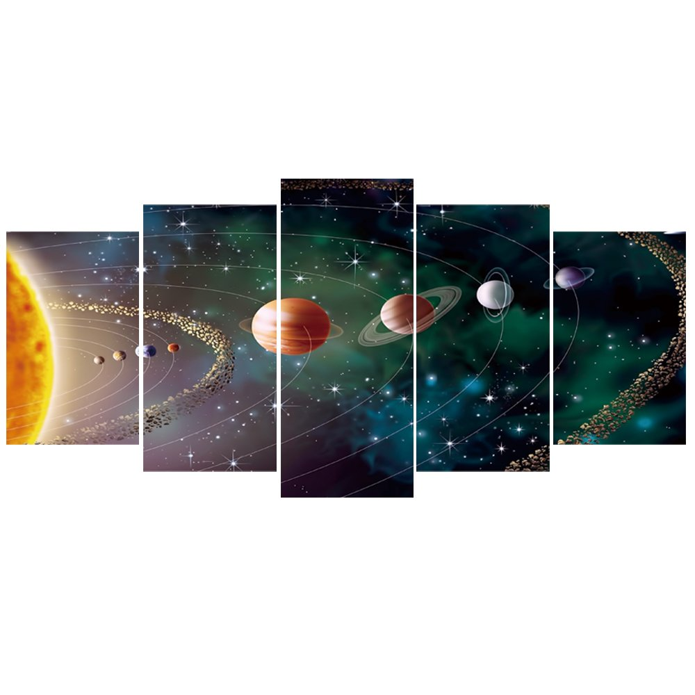 GEVES Planets Solar System Galaxy Universe Wall Art Painting Modern Home Decoration 5 Pieces Contemporary Giclee Canvas Prints Artwork Stretched and Framed Ready to Hang for Living Room Bedroom