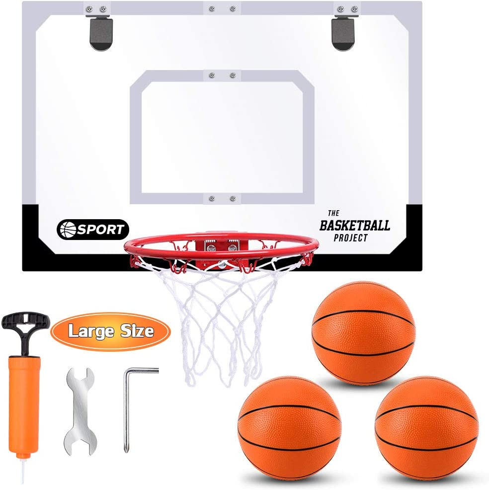 Large Indoor Mini Basketball Hoop Set for Kids and Adult 24 X 16 Inch Board Family Games for Home and Office Door & Wall with 3 Balls and Complete Accessories, Basketball Toy Gifts for Kids Boys Teens