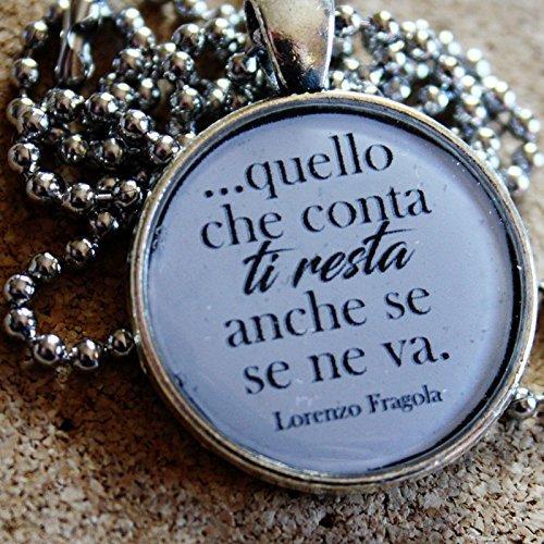Collana Con Ciondolo In Resina Con Frasi Di Canzoni Di Lorenzo