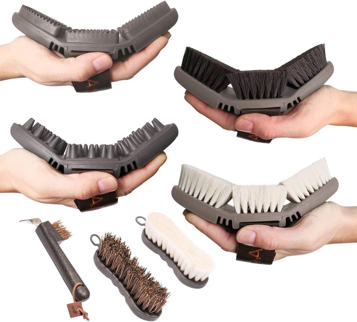 Animalon Premium Set de Todos los Productos de la Serie de Cuidado CareFlex CareFlex, Cepillo de Pelo, Cepillo de Brillo y Barra de Masaje, Cepillo Facial, Cepillo de pezuñas y raspador de Carreras