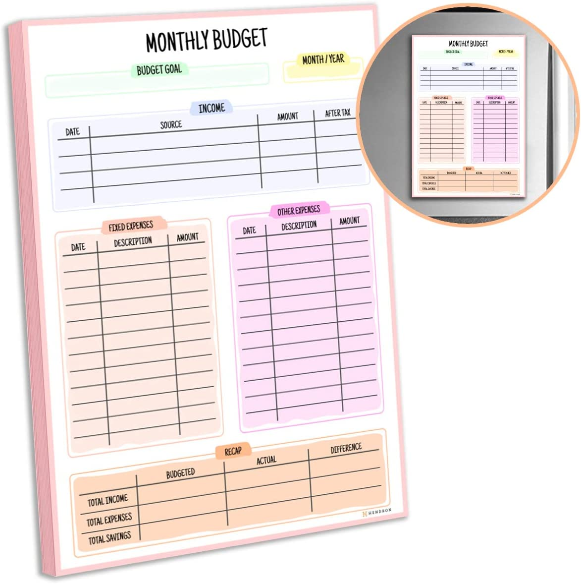 Budget Planner Pad for Fridge | Financial Organizer, Expense Tracker Magnetic Notepad | Monthly Budgeting & Bill Planning Ledger | 7 x 10 Inches, 52 Sheets | Take Control of Your Money