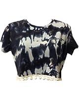 Home of Fashion Tie Dye Print Pom Pom Trim Short Cap Sleeve Crop Top - Various Colours