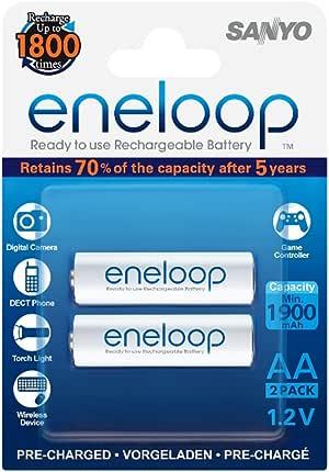 Sanyo eneloop HR-3UTGB-2BP - Pilas Mignon AA (Ni-Mh (1900 mAh, 2 unidades): Eneloop: Amazon.es: Electrónica