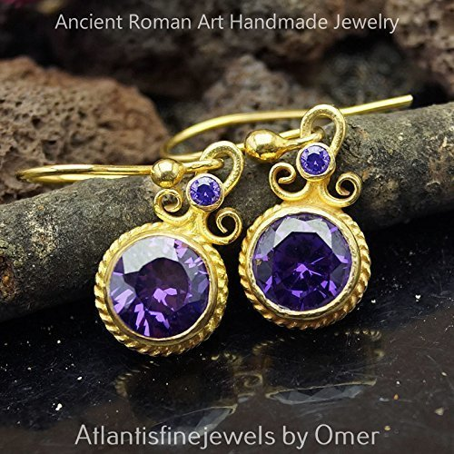 Sterling Silver Ancient Art Amethyst Earrings 24k Gold Vermeil Handmade By Omer Turkish Fine Jewelry
