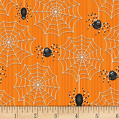 Henry Glass Glow In The Dark Ghostly Glow Town Large Spider & Web Multi, Fabric by the Yard (Spider Web In Glass)