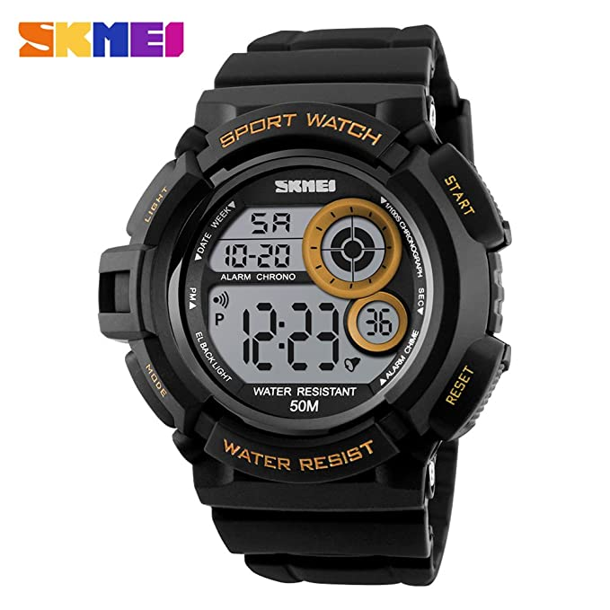 Mens Luminescent Digital Sport Watches Fashion Casual Electronic LED Military Watch With 50M Waterproof