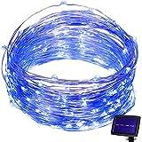 Hallomall LED Solar Powered String Lights, 2 Modes Steady on / Flash, 150 LED, 72 Feet, Blue