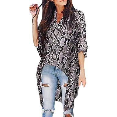 931ae2bb684b0 Onefa Women Tee Shirt Leopard Snakeskin Print V Neck Blouse Long Sleeve Tops  Blouse at Amazon Women s Clothing store