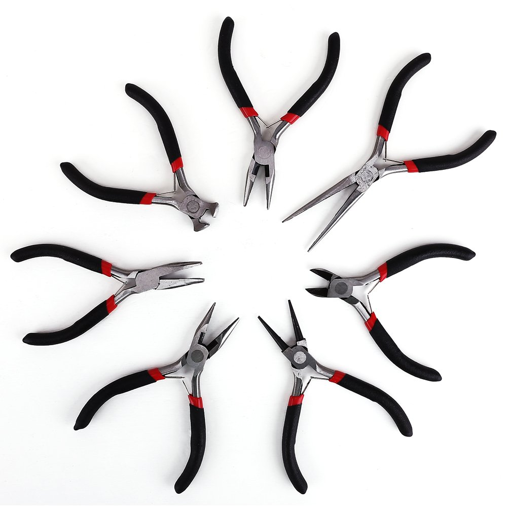 7PCS Mini Jewellery Pliers Tools Kit Wire Cutter Chain Round Bent Flat Chain Nose Beading Making Set