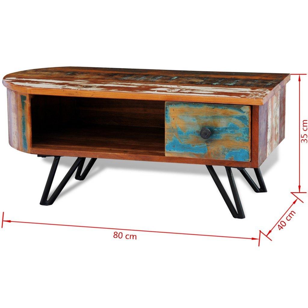 VidaXL Wohnzimmertisch Mit Stahlbeinen Recyceltes Holz Amazonde Kche Haushalt