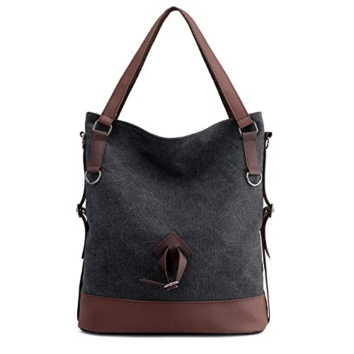 Mujeres hombro Mochila Bolsa Lienzo bolso tote Shopping Top Mango bolsas para trabajar transporte escolar,Black: Amazon.es: Zapatos y complementos