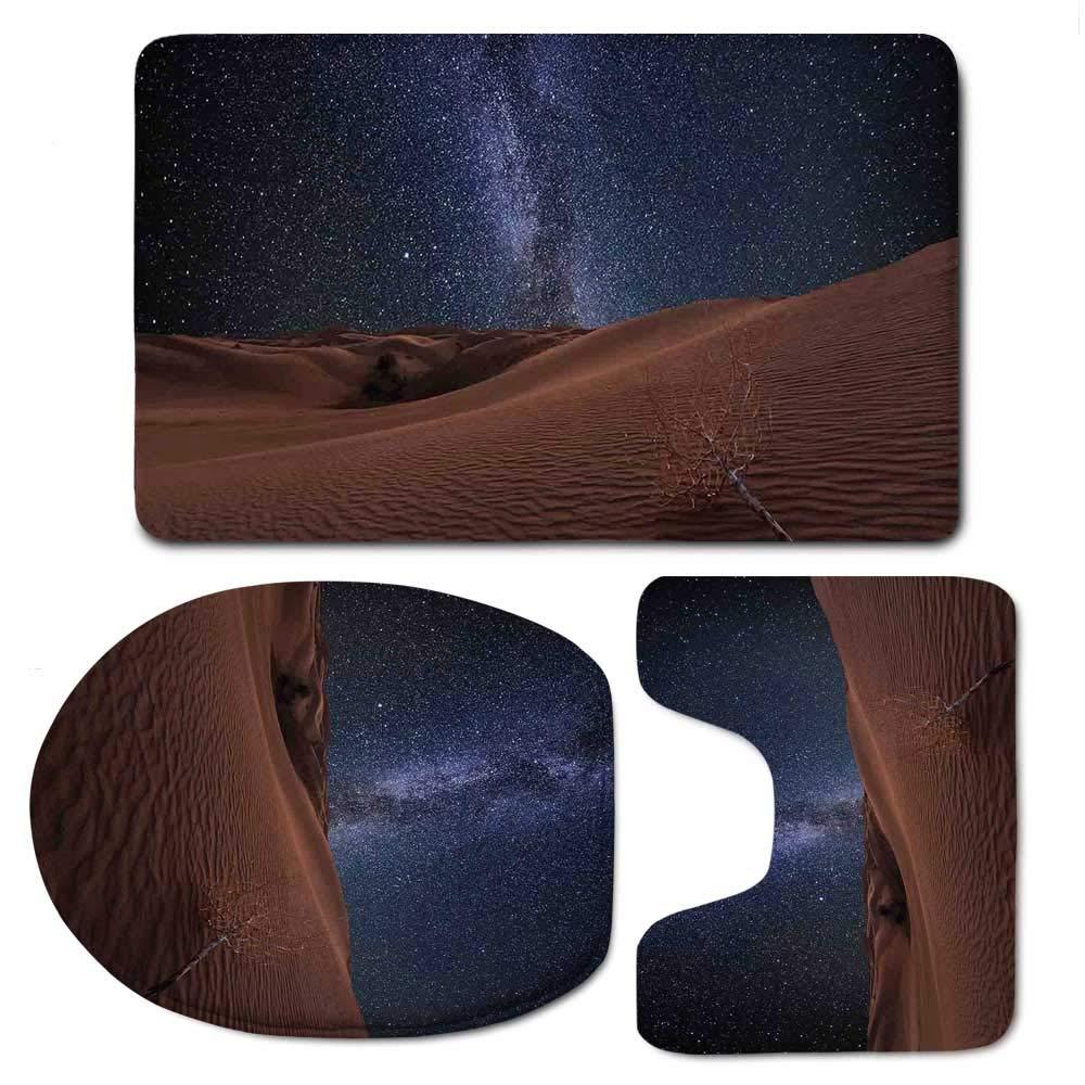 YOLIYANA Space Bathroom 3 Piece Mat Set,Life on Mars Themed Surreal Surface of Gobi Desert Dune Oasis Lunar Adventure Photo for Indoor,F:20'' W x31 H,O:14'' Wx18 H,U:20'' Wx16 H