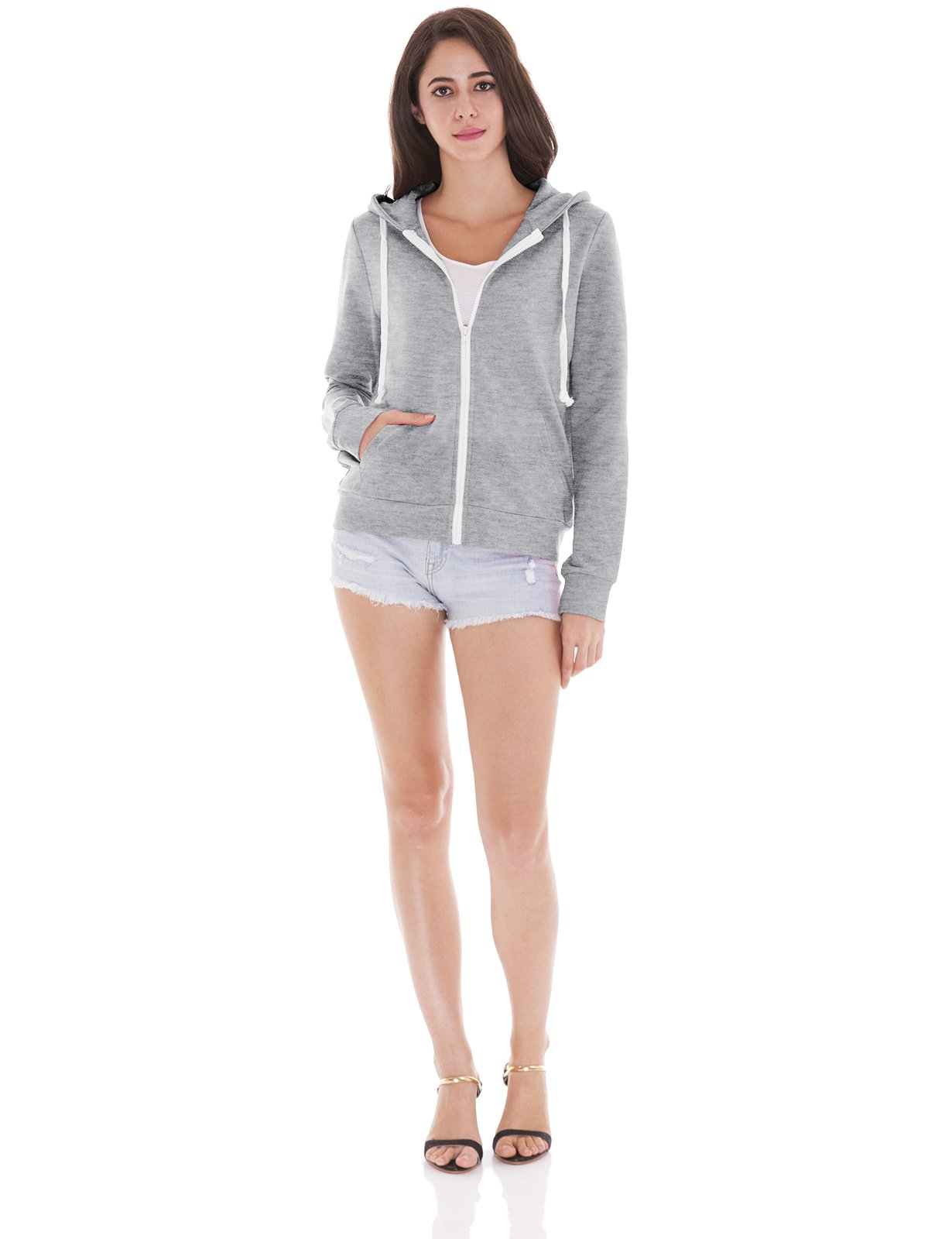 H2H Womens Soft Regular Fit Zip up Long Sleeve Fine Cotton Hoodie Jacket Gray US XS/Asia XS (CWOHOL020) by H2H (Image #5)