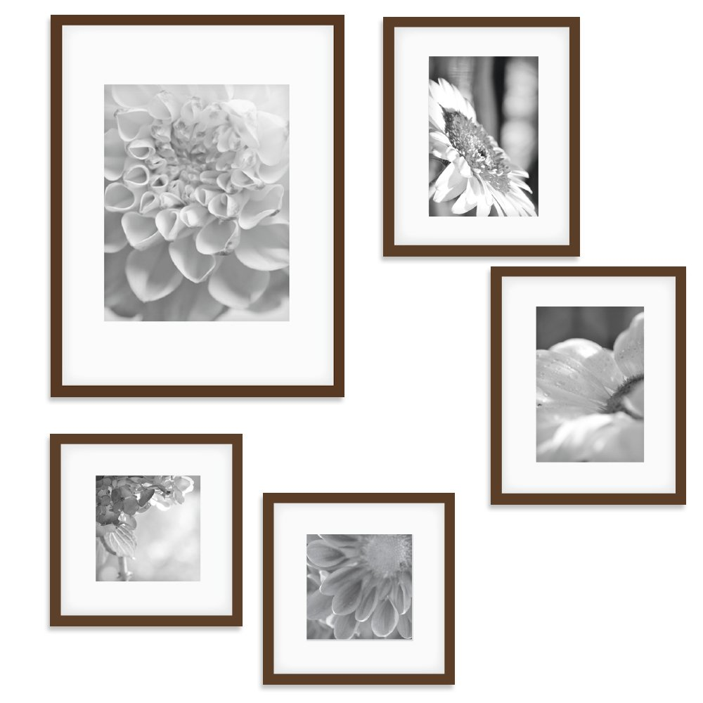 Gallery Perfect 5 Piece Walnut Wood Photo Frame Gallery Wall Kit with Decorative Art Prints & Hanging Template by Gallery Perfect
