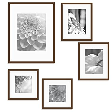 Gallery Perfect 5 Piece Walnut Wood Photo Frame Gallery Wall Kit with Decorative Art Prints & Hanging Template