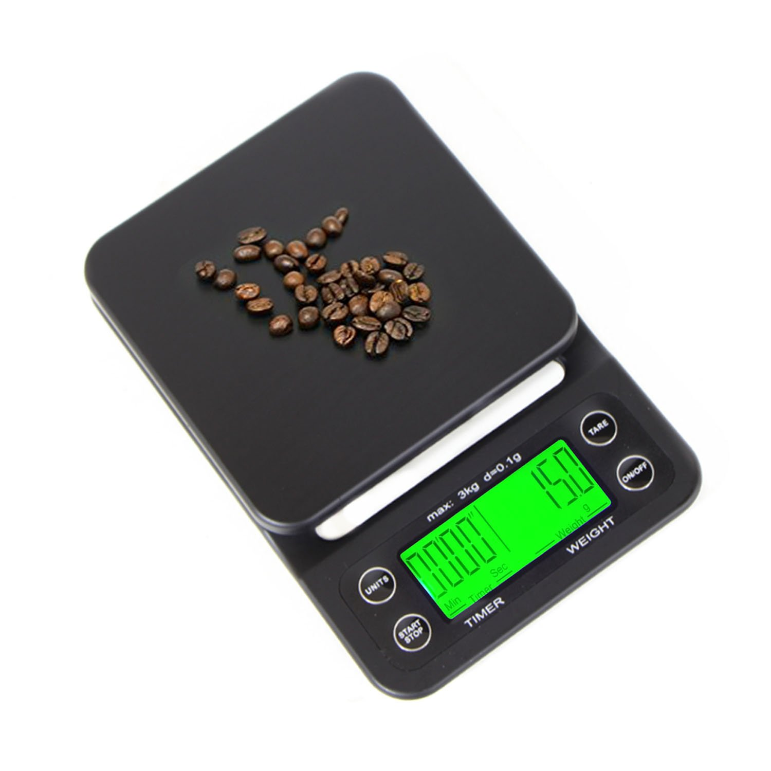 mingshang Digital Kitchen Food Coffee Scale for Cooking Baking Multifunction Weighing Electronic Timer With LCD Display Black 6.6lb/3kg (Green Backlight)