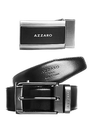 f98955b2a50b Coffret ceinture AZZARO Noir Marron ZCOF684 7  Amazon.fr  Vêtements ...