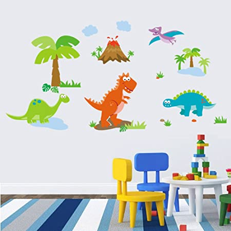 Winhappyhome Cute Cartoon Dinosaurs Zoo Kids Wall Stickers For - 3d dinosaur wall decalsd cartoon dinosaur wall stickers art decal mural home room