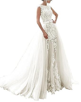 Brautkleider Standesamt   Nanger Damen Tull Spitze Hochzeitskleider Standesamt Lange