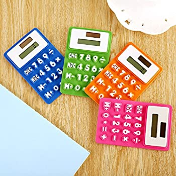 Cideros 8 Digits Basic Calculator, Solar Powered Soft Lightweight LCD Screen Silicone Pocket Calculator Green Office Stationery, Blue