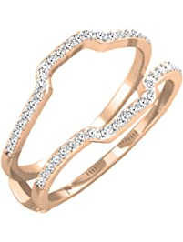 025 carat ctw 14k gold round white diamond wedding band enhancer guard ring 1 - Wedding Ring Enhancers