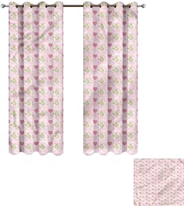 """Cash Hoover Blackout Curtains Baby,Elephants in Tartan Hearts,Blackout Draperies for Bedroom Living Room 27"""" Wx72 L,2 Panels"""