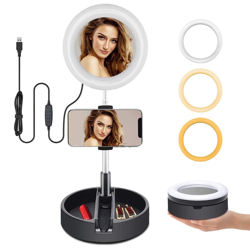 takyu Selfie Ring Light with Mirror & Cell Phone Holder for Live Stream/Makeup, Upgraded 6'' Portable Mini LED Ring Light Foldable Circle Light Compatible with iPhone Xs Max XR Android