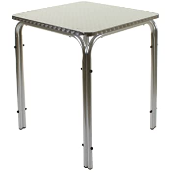 marko outdoor stacking square table aluminium frame chrome finish