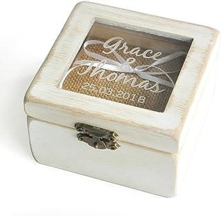 Personalized Ring Bearer Box, Custom Rustic Wedding Ring Box , Wooden Ring Bearer Box, Wooden Square Box