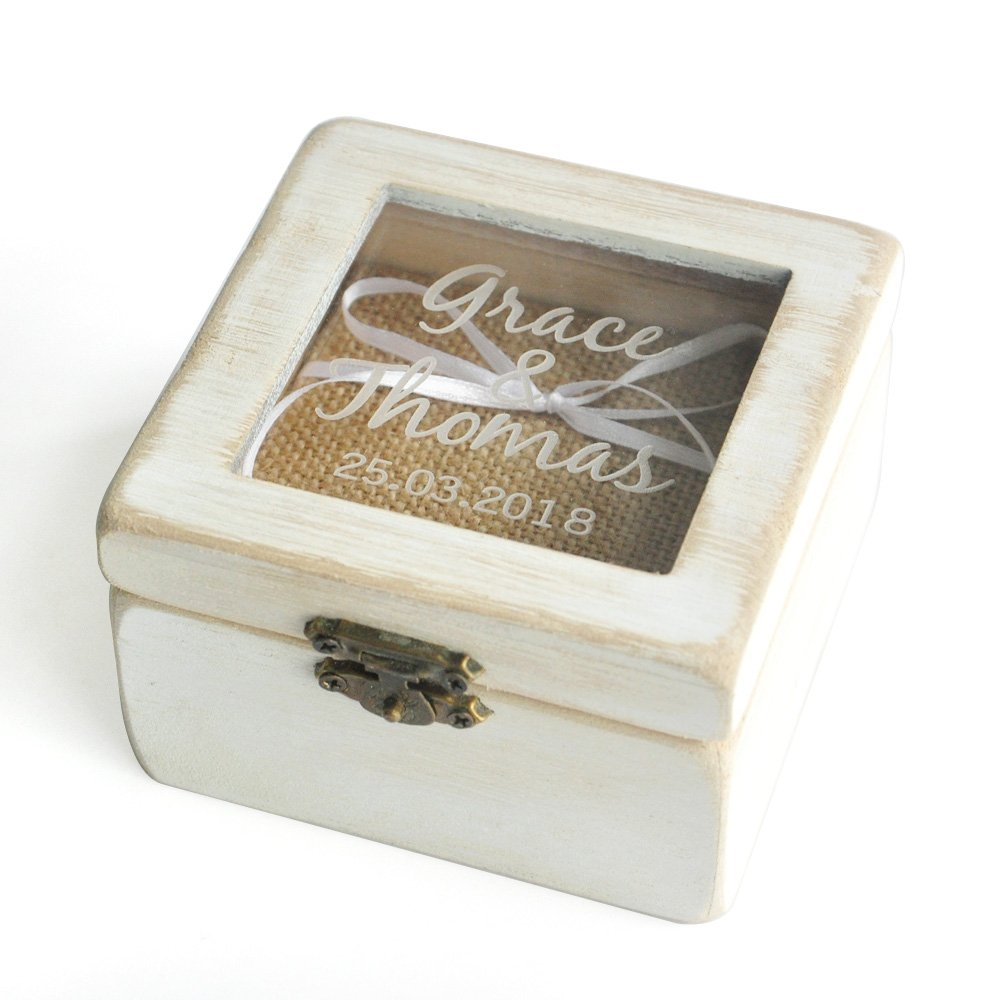 Personalized Ring Bearer Box, Custom Rustic Wedding Ring Box , Wooden Ring Bearer Box, Wooden Square Box W-006