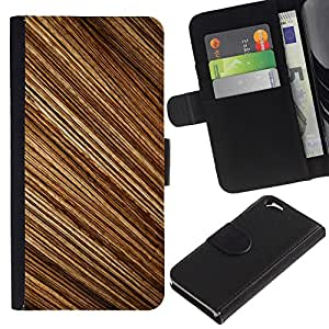 iKiki Tech / Cartera Funda Carcasa - Pattern Random Stripes Wood Design Brown - Apple iPhone 6 4.7