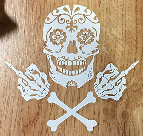 OSMdecals - Mexican Sugar Skull and Crossbones Sticker with Middle Fingers Version 115 - Day of the Dead Vinyl Wall Home Decor Car Truck Window Decal Bumper Laptop Sticker