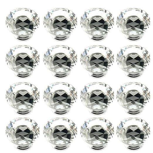 40/mm puertas y cajones 16 pomos de cristal con dise/ño de diamante para armarios