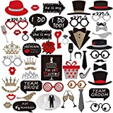 Wedding Photo Booth Props(54Pcs) for Bridal Shower Party, Gold sparkle and Red With Chalkboard Style Black Sign,Wedding Party Decorations Costume Dress-up Accessories,Wedding Shower Party Supplies