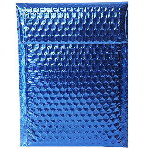 JAM PAPER Bubble Padded Mailers with Hook & Loop Closure - 6 1/4 x 9 1/2 - Blue Metallic - Sold Individually