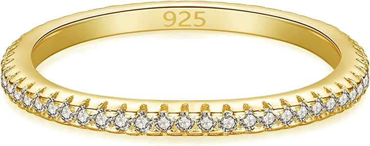 Spoil Cupid 14K Gold Plated 925 Sterling Silver Cubic Zirconia Stackable Eternity Wedding Band Rings for Women 1pc