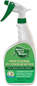 Nature's Secret Weapon Pet Urine Stain & Odor Remover - Professional Strength Super Odor Eliminator and Destroyer - Formulated for Cats and Dogs - 32 Spray Bottle