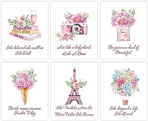 "Inspirational Fashion Women Art Print, Modern Pink Flower Canvas Wall Art Set of 6(8""X10"", Unframed),Romantic Paris Eiffel Tower Posters for Dressing Room Living Room Girls Bedroom Decor"