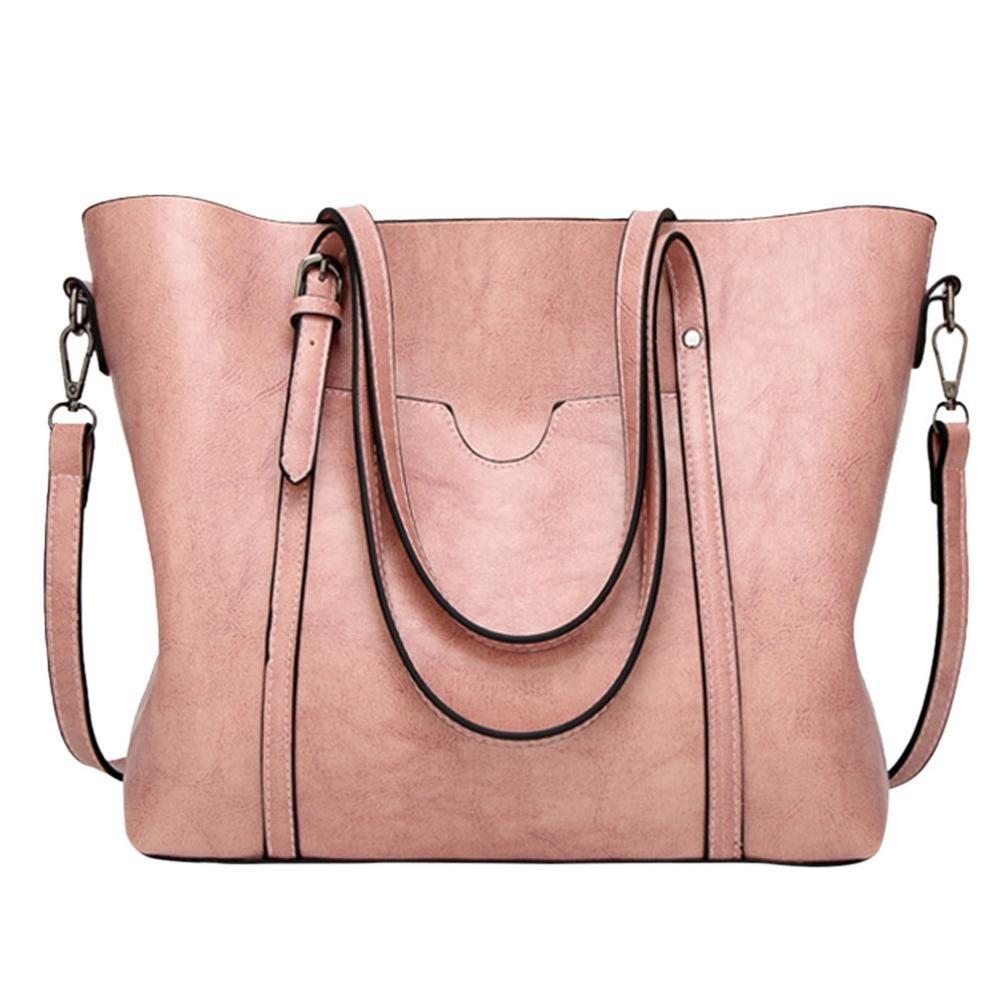 BCDshop Fashion Tote Bag Women Handbag Purses Ladies Vintage Work Travel Shoulder Bags,Large (Pink)