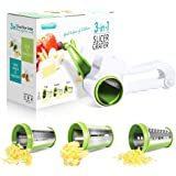 Masthome Rotary Cheese Grater Kitchen Vegetable Slicer with 3 Stainless Steel Blade