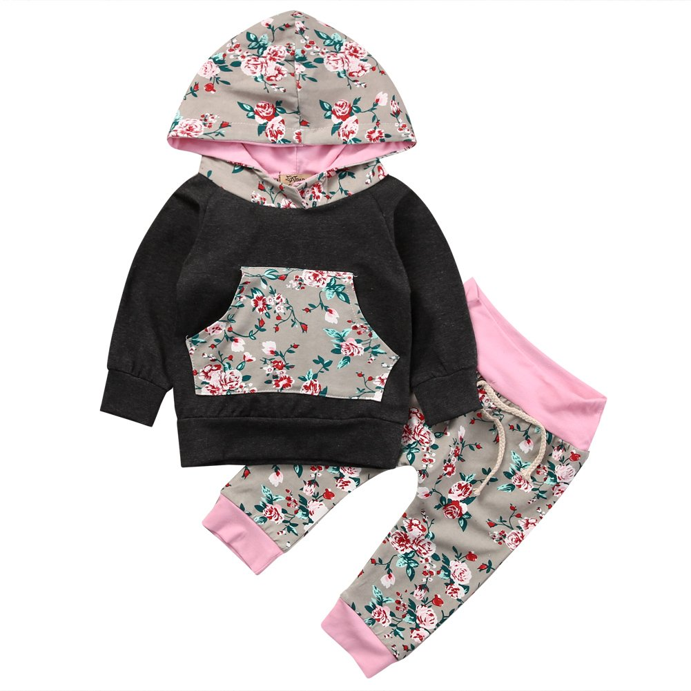 Baby Girl 2pcs Set Outfit Black Hoodie with Pocket Top+Floral Long Pants