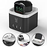 Apple Charging Dock Apple iPhone Watch Stand 4 Port USB Charging Station Cable Management Nightstand Mode Compatible for iPhone iPad and Other Mobile Devices